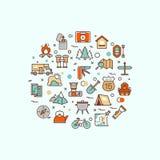 Colonie de vacances, s'élevant, trekking, augmentant, alpinisme, sports extrêmes, concept extérieur de vecteur avec la ligne icôn illustration stock