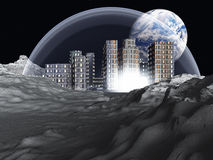 Colonie lunaire illustration de vecteur