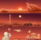 Colonisation et exploration rouges de Mars de planète Landascape de Mars de galaxie avec le vagabond, la navette de fusée, le vai illustration de vecteur