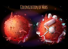 Colonization of Mars vector concept illustration. Colonization, exploration and terraforming of Mars, vector concept illustration. Futuristic landscape with two Stock Images