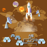 Colonization of Mars: rocket, spaceship, spaceport, planets Stock Images