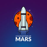 Colonization of Mars vector illustration Royalty Free Stock Image