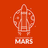 Colonization of Mars vector illustration Royalty Free Stock Photo