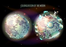 Colonization of Moon vector concept illustration. Colonization, exploration and terraforming of Moon, earth satellite, vector concept illustration. Futuristic Royalty Free Stock Photography