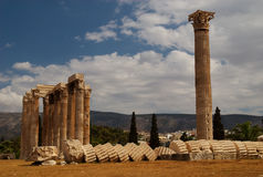 Colonna crollata, Atene, Grecia Fotografia Stock