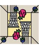 Colonna del Corinthian e della frutta tropicale fotografia stock
