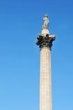 Colonna del Nelson, quadrato di Trafalgar a Londra Fotografia Stock
