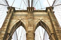 Colonna del ponte di Brooklyn, New York fotografie stock