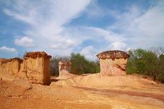 Colonna del terreno nell'erosione di terreno Fotografia Stock Libera da Diritti