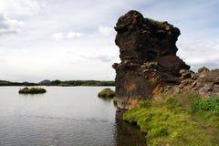 Colonna della lava nel lago Myvatn, Islanda Fotografie Stock Libere da Diritti