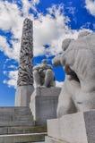 Colonna della scultura della gente nel parco di Frogner, Oslo Fotografie Stock Libere da Diritti