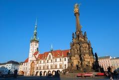 Colonna della trinità santa sul quadrato superiore in Olomouc immagine stock