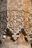 Colonna di legno scolpita, l'Uzbekistan Fotografia Stock Libera da Diritti