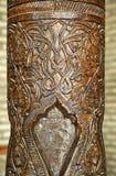 Colonna di legno scolpita, l'Uzbekistan Fotografia Stock