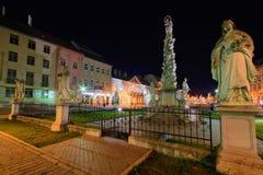 Colonna di peste di Kosice nella notte immagine stock libera da diritti