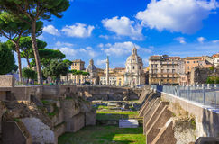 Colonna di Traiano and the ruins of the Foro di Traiano in Rome Stock Photo