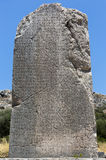Colonna inscribed nella città antica di Xanthos, Adalia fotografia stock libera da diritti