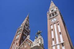 Colonna Seghedino - Ungheria della trinità santa e di Dom Square fotografia stock libera da diritti