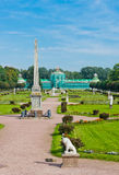 Colonna with a statue of Minerva and orangerie. Kuskovo estate, Stock Photo