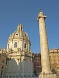 Colonna Traiana & Chiesa. Colonna Trianna & Chiesa Santissimo Nome di Maria al Foro Traiano Roman and Baroque architecture side by side in Rome Stock Photos
