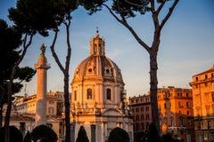 Colonna Traiana Chiesa and Cattolica SS. Nome di Maria Royalty Free Stock Photo