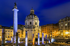Colonna Traiana and Chiesa SS Nome di Maria Royalty Free Stock Photography