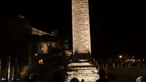 Colonna Traiana ,Roman Forum at night stock video