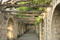 Colonnade. A timber lined colonnade at the Alamo in San Antonio Texas Stock Image