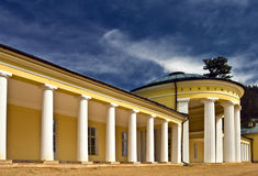Colonnade. Pavilion of the Ferdinand spring,Marianske Lazne,West Bohemia with blue sky Stock Photos