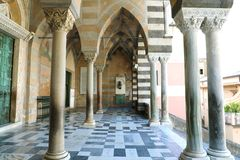 Colonnade of Amalfi Cathedral dedicated to the Apostle Saint Andrew, Campania, Italy stock photo