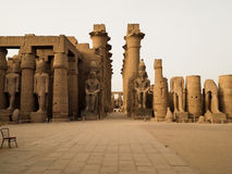 Colonnade of Amenhotep II in Luxor. Colonnade of Amenhotep II with two colossi of Ramses II in Luxor Temple Egypt Stock Image