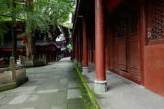 Colonnade of ancient Chinese wood-structure building Stock Images