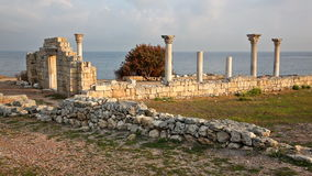 Colonnade of the ancient Greek city of Chersonese stock video footage