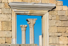 Colonnade of the Ancient Greek city of Chersonese Royalty Free Stock Photography