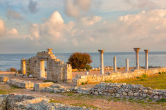 Colonnade of the Ancient Greek city of Chersonese Royalty Free Stock Photos