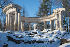 Colonnade of Apollo close-up. February day. Pavlovsk park. Saint Petersburg stock image
