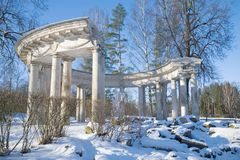 The Colonnade of Apollo on a sunny February day. Pavlovsk, the suburbs of St. Petersburg royalty free stock photography