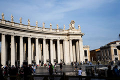 Colonnade around the Piazza St Pietro by St Peter`s Basilica in the Vatican City in Rome Italy Royalty Free Stock Photo
