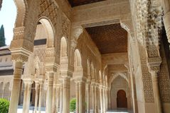 Colonnade in a beautiful courtyard in the Alhambra in Granada in Spain Stock Images
