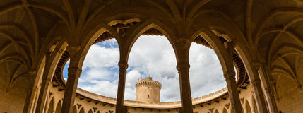 Colonnade of Bellver castle, Palma, Majorca. Royalty Free Stock Photos