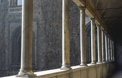 Colonnade of the Castello Sforzesco Stock Photography