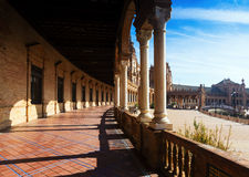 Colonnade of  central building Plaza de Espana Royalty Free Stock Photos