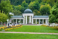 Colonnade of cold mineral water spring Caroline - spa town Marianske Lazne Marienbad - Czech Republic Royalty Free Stock Image