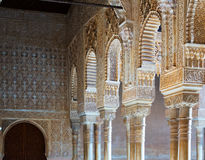 Colonnade of Courtyard of the Lions  in  Alhambra Royalty Free Stock Image