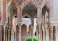 Colonnade of Courtyard of the Lions in day time. Alhambra Stock Image