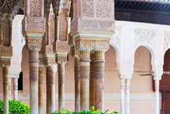 Colonnade of Courtyard of the Lions(Patio de los Leones)in  Alha Royalty Free Stock Image