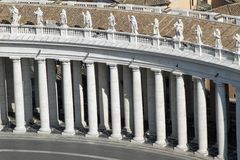 Colonnade designed by architect BERNINI in St. Peter's square in. Rome with the white columns Stock Images