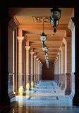 Colonnade of Emirates palace hotel in Abu-Dhabi Royalty Free Stock Photo
