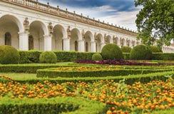 Colonnade in the flower garden. In Kromeriz. Czech Republic Stock Image