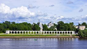 Colonnade in the fort, Veliky Novgorod, Russia Stock Image